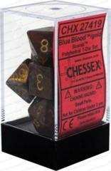 CHX 27419 - 7 Polyhedral Blue Blood w/ Gold Scarab Dice