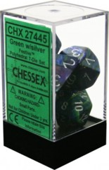 CHX 27445 - 7 Polyhedral Green w/ Silver Festive Dice
