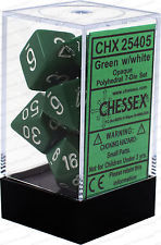 CHX 25405 - 7 Polyhedral Green w/ White Opaque Dice