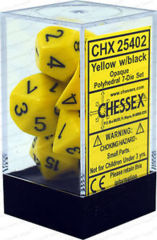 CHX 25402 - 7 Polyhedral Yellow w/ Black Opaque Dice