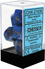 CHX 27436 - 7 Polyhedral Blue w/ Gold Vortex Dice