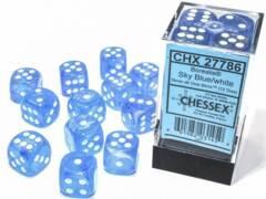 CHX 27786 - 12 Sky Blue w/ White Borealis Glow-in-the-Dark Polyhedral Dice