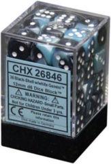 CHX 26846 - 36 Black-Shell w/ White Gemini 12mm d6 Dice