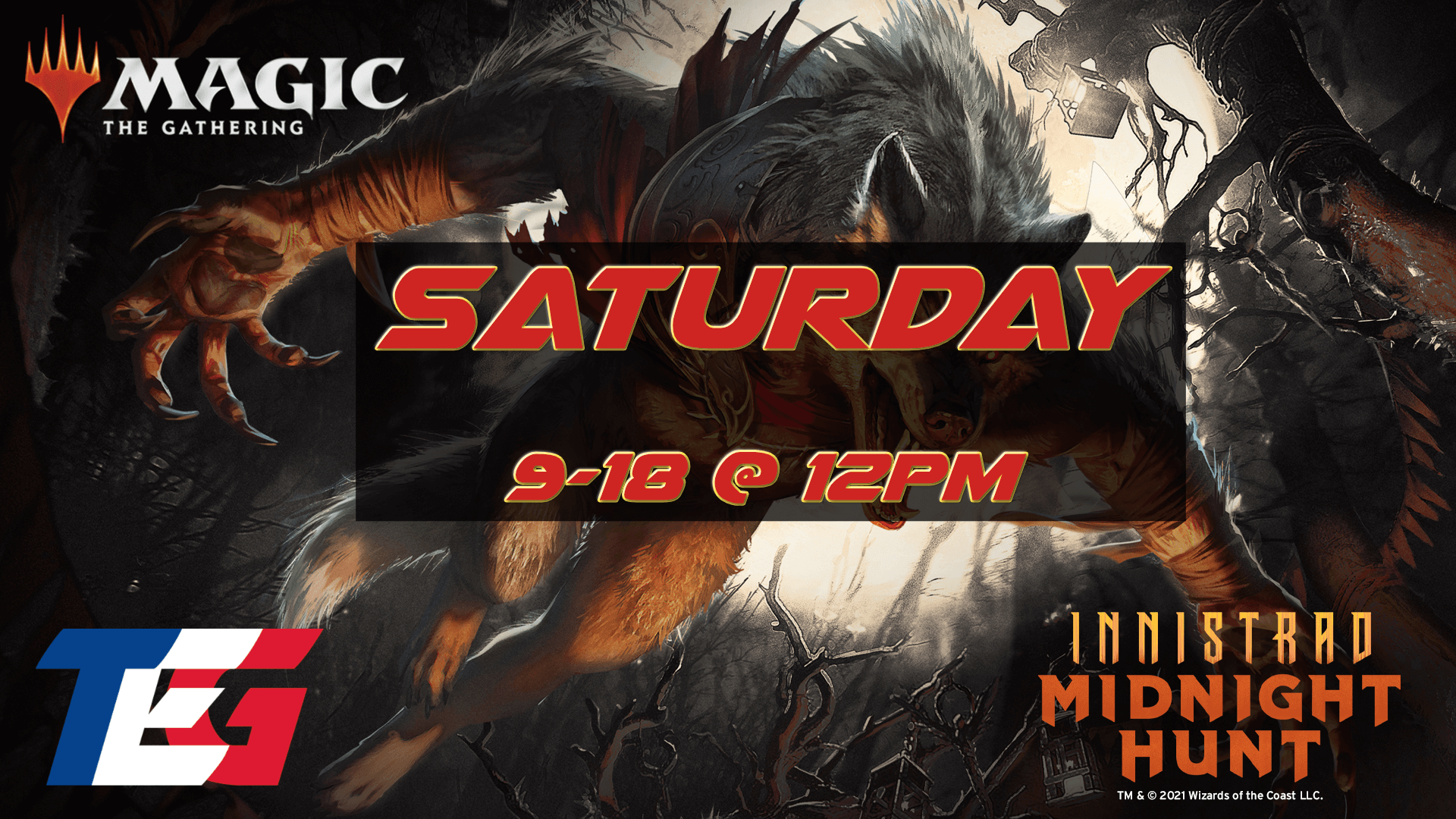Saturday 9/18 - Innistrad: Midnight Hunt Prerelease 12PM