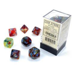 CHX 27559 - 7 Polyhedral Primary w/ Blue Nebula Glow-in-the-Dark Dice