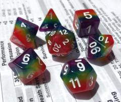 HDL-09 - 7 Rainbow w/ White Layered Polyhedral Dice