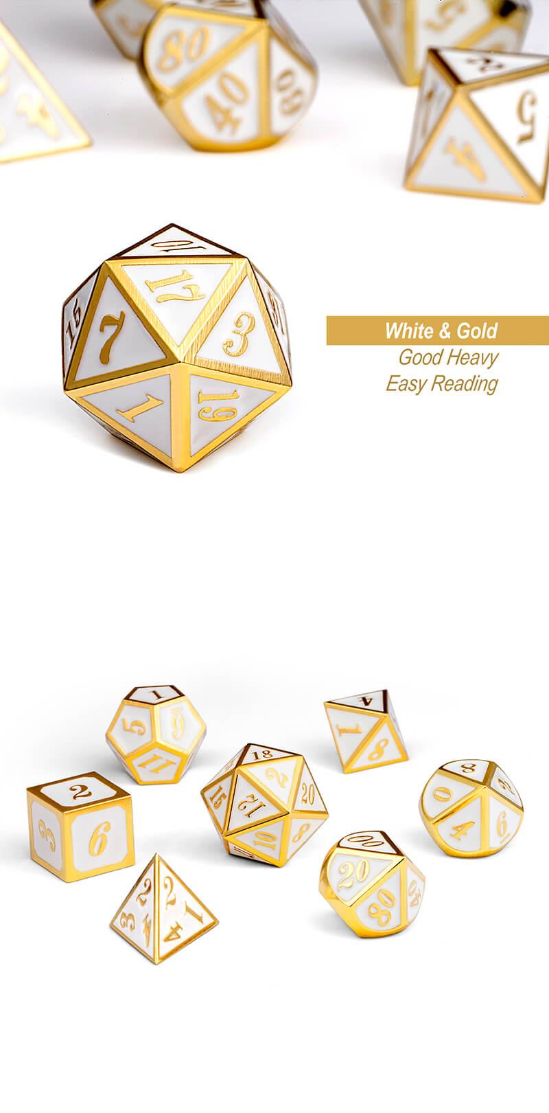 DAD510 - 7 White w/ Gold Metal Polyhedral Dice