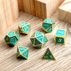 DAD514 - 7 Turquoise w/ Gold Metal Polyhedral Dice