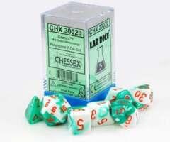 CHX 30020 - 7 Polyhedral Mint Green & White w/ Orange Gemini Dice