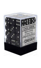 CHX 25808 - 36 Black w/ White Opaque 12mm d6 Dice
