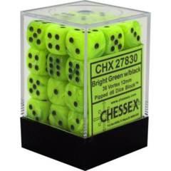 CHX 27830 - 36 Bright Green w/ Black Vortex 12mm d6 Dice