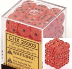 CHX 25903 - 36 Fire Speckled 12mm d6 Dice