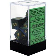 CHX 26436 - 7 Polyhedral Blue-Green w/ Gold Gemini Dice