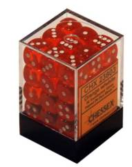 CHX 23803 - 36 Orange w/ White Translucent 12mm d6 Dice