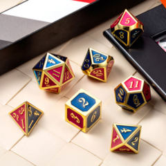 DAD518 - 7 Red & Blue w/ Gold Metal Polyhedral Dice