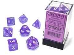 CHX 27577 - 7 Purple w/ White Borealis Glow-in-the-Dark Polyhedral Dice