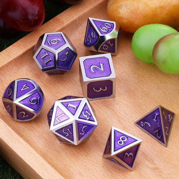 DAD509 - 7 Purple w/ Silver Metal Polyhedral Dice