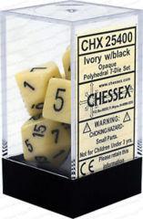 CHX 25400 - 7 Polyhedral Ivory w/ Black Opaque Dice