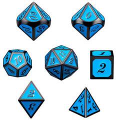 DAD535 - 7 Sky w/ Gunmetal Metal Polyhedral Dice