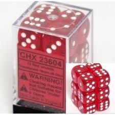 CHX 23604 - 12 Red w/ White Translucent 16mm d6 Dice
