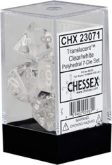 CHX 23071 - 7 Polyhedral Clear w/ White Translucent Dice