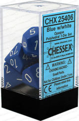 CHX 25406 - 7 Polyhedral Blue w/ White Opaque Dice