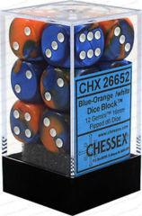 CHX 26652 - 12 Blue-Orange w/ White Gemini 16mm d6 Dice