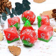 HDL-21 - 7 Red & Green w/ Silver Layered Polyhedral Dice