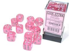 CHX 27784 - 12 Pink w/ Silver Borealis Glow-in-the-Dark Polyhedral Dice