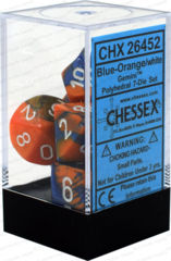 CHX 26452 - 7 Polyhedral Blue-Orange w/ White Gemini Dice