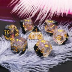 HDC-05 - 7 Clear & Black w/ Gold Translucent Snowglobe Polyhedral Dice
