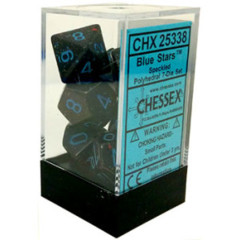 CHX 25338 - 7 Polyhedral Blue Stars Speckled Dice
