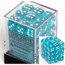 CHX 23815 - 36 Teal w/ White Translucent 12mm d6 Dice