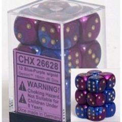 CHX 26628 - 12 Blue-Purple w/ Gold Gemini 16mm d6 Dice