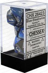 CHX 26423 - 7 Polyhedral Blue-Steel w/ White Gemini Dice