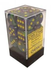 12 Rio w/Yellow Festive 16mm d6 Dice - CHX 27649