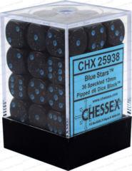CHX 25938 - 36 Blue Stars Speckled 12mm d6 Dice