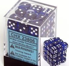 CHX 23806 - 36 Blue w/ White Translucent 12mm d6 Dice