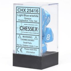 CHX 25416 - 7 Polyhedral Light Blue w/ White Opaque Dice