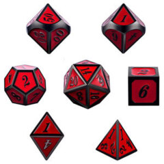 DAD534 - 7 Rose w/ Gunmetal Metal Polyhedral Dice