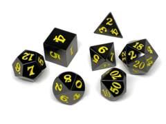 Gun Metal 7 Piece Dice Set - Signature Font - Yellow