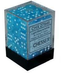 36 Cirrus Light Blue w/White 12mm d6 Dice Block - CHX27846