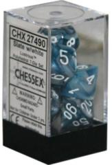 CHX 27490 - 7 Polyhedral Slate w/ White Lustrous Dice