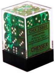 CHX 23805 - 36 Green w/ White Translucent 12mm d6 Dice