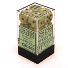 CHX 27609 - 12 Green w/ Dark Green Marble 16mm d6 Dice