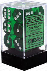 CHX 23605 - 12 Green w/ White Translucent 16mm d6 Dice