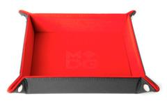 Red Leather Velvet Folding Dice Tray