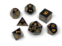 Gun Metal 7 Piece Dice Set - Signature Font - Gold