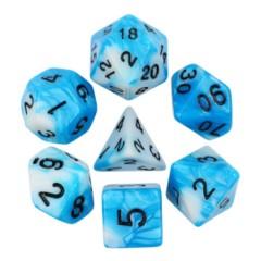 HDB-40 - 7 Blue & White w/ Black Blended Polyhedral Dice