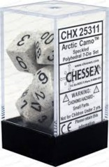 CHX 25311 - 7 Polyhedral Arctic Camo Speckled Dice